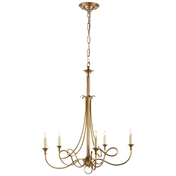 Twist Chandelier in Hand-Rubbed Antique Brass