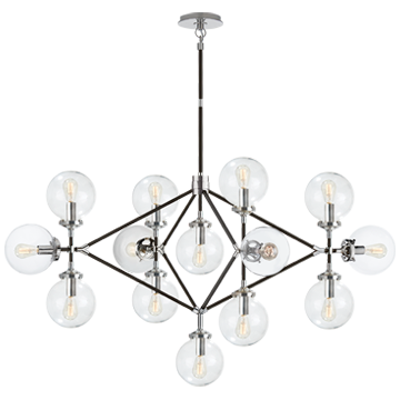 Bistro Four Arm Chandelier in Polished Nickel and Black with Clear Glass