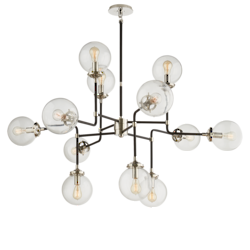 Bistro Medium Chandelier in Polished Nickel with Clear Glass