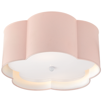 Bryce Medium Flush Mount in Pink and White with Frosted Acrylic Diffuser