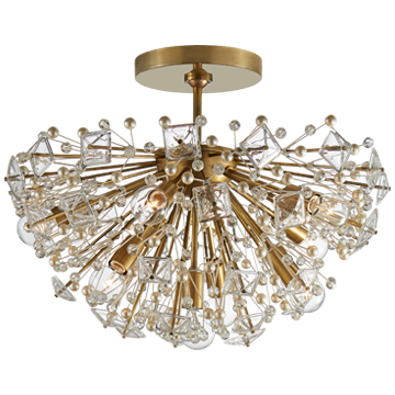 Dickinson Semi-Flush in Soft Brass with Clear Glass and Cream Pearls