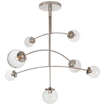 Prescott Large Mobile Chandelier in Polished Nickel with Clear Glass