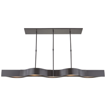 Avant Large Linear Pendant in Bronze with Frosted Glass