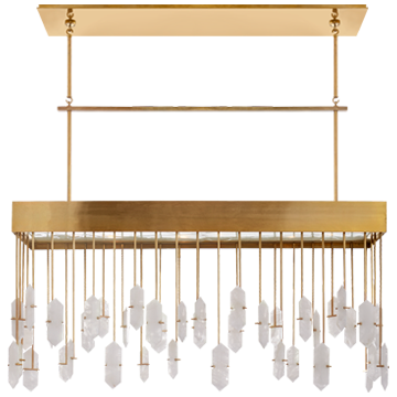 Halcyon Linear Chandelier in Antique-Burnished Brass with Quartz