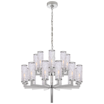 Liaison Double Tier Chandelier in Polished Nickel with Crackle Glass