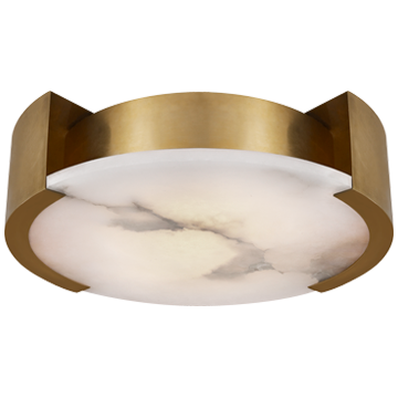 Melange Large Flush Mount Lamp in Antique-Burnished Brass with Alabaster