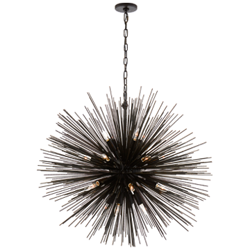 Strada Large Round Pendant in Aged Iron