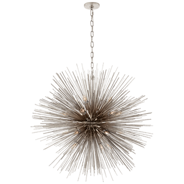 Strada Large Round Pendant in Burnished Silver Leaf