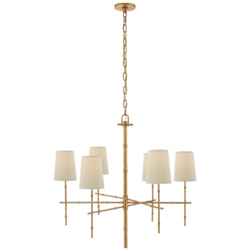 Grenol Medium Modern Bamboo Chandelier in Hand-Rubbed Ant Brass w/- Natural Percale Shades