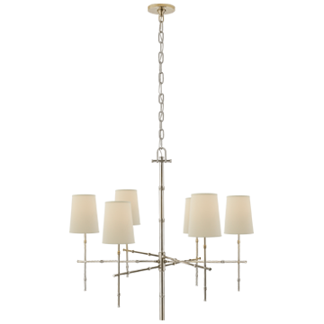 Grenol Medium Modern Bamboo Chandelier in Polished Nickel w/- Natural Percale Shades