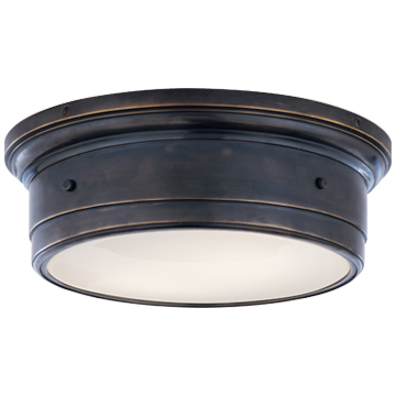 Siena Large Flush Mount in Bronze with White Glass