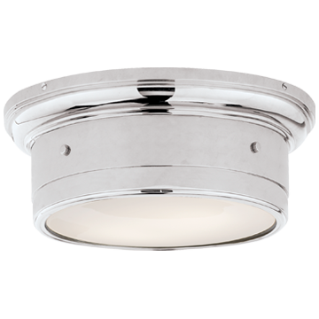 Siena Small Flush Mount in Chrome with White Glass