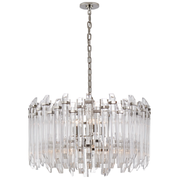 Adele Large Wide Drum Chandelier in Polished Nickel with Clear Acrylic
