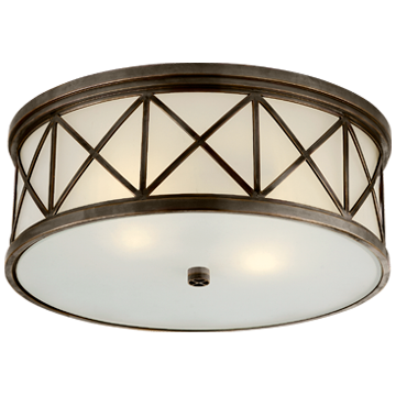 Montpelier Large Flush Mount in Bronze with Frosted Glass