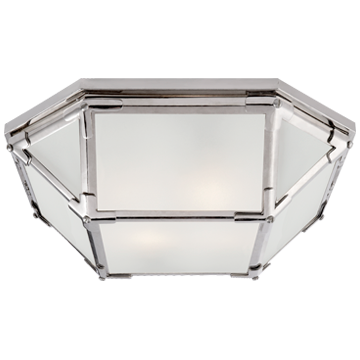 Morris Flush Mount in Polished Nickel with Frosted Glass