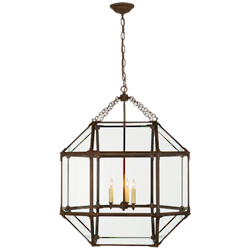 Morris Large Lantern in Antique Zinc with Clear Glass