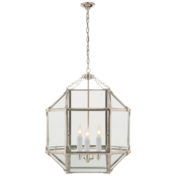 Morris Medium Lantern in Polished Nickel with Clear Glass