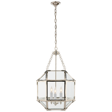 Morris Small Lantern in Polished Nickel with Clear Glass