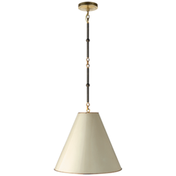 Goodman Small Hanging Light in Bronze and Hand-Rubbed Antique Brass with Antique White Shade