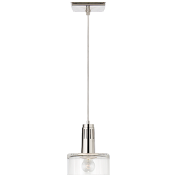Iris Single Pendant in Polished Nickel with Clear Glass