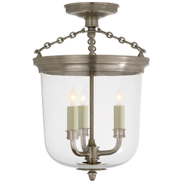 Merchant Semi-Flush in Antique Nickel with Clear Glass