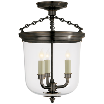 Merchant Semi-Flush in Bronze with Clear Glass