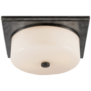 Newhouse Circular Flush Mount in Bronze with White Glass