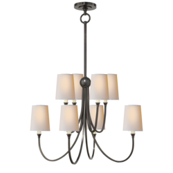 Reed Large Chandelier in Bronze with Natural Paper Shades
