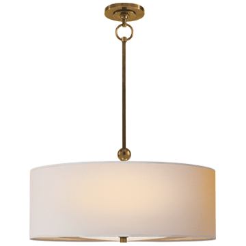 Reed Pendant in Hand-Rubbed Antique Brass with Natural Paper Shade