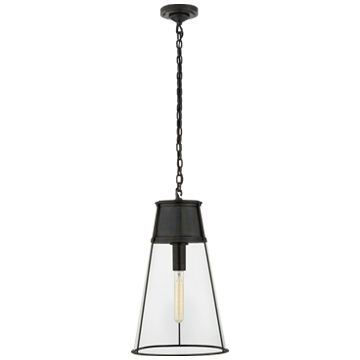 Robinson Large Pendant in Bronze with Clear Glass