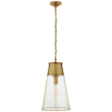 Robinson Large Pendant in Hand-Rubbed Antique Brass with Seeded Glass