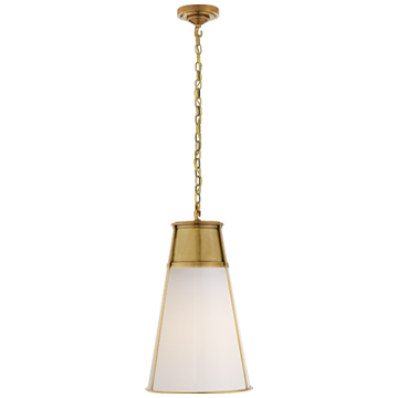 Robinson Large Pendant in Hand-Rubbed Antique Brass with White Glass