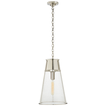 Robinson Large Pendant in Polished Nickel with Seeded Glass