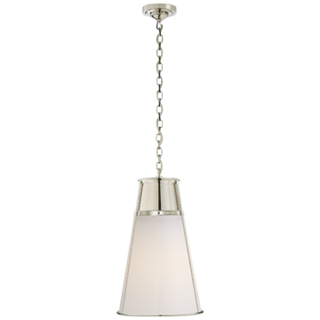 Robinson Large Pendant in Polished Nickel with White Glass