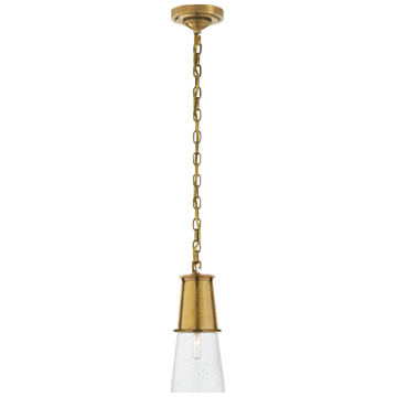 Robinson Small Pendant in Hand-Rubbed Antique Brass with Seeded Glass