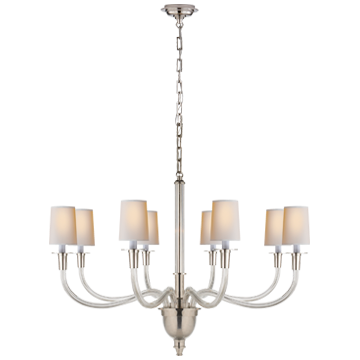 Vivian Large One-Tier Chandelier in Polished Nickel with Natural Paper Shades