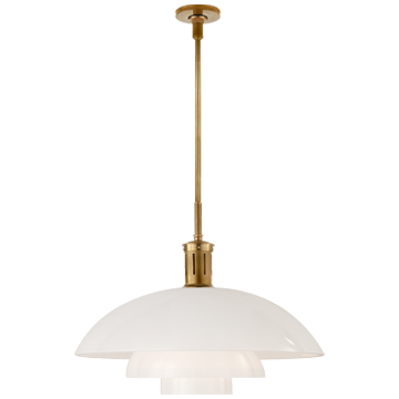 Whitman Large Pendant in Hand-Rubbed Antique Brass with White Glass Shade