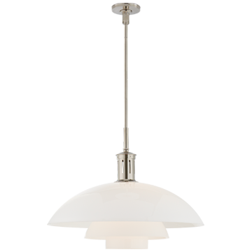 Whitman Large Pendant in Polished Nickel with White Glass Shade