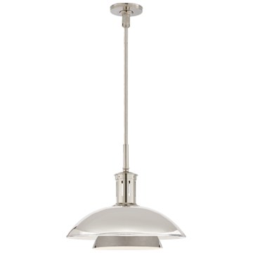 Whitman Medium Pendant in Polished Nickel with Polished Nickel Shade