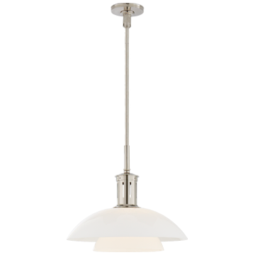 Whitman Medium Pendant in Polished Nickel with White Glass Shade