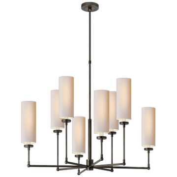 Ziyi Large Chandelier in Bronze with Natural Paper Shades