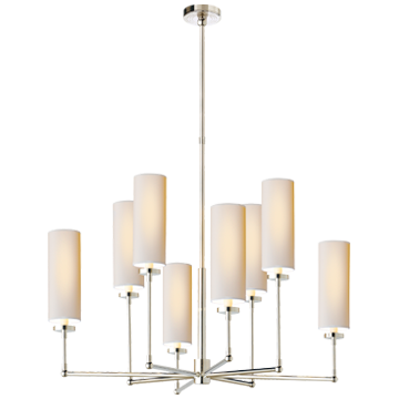 Ziyi Large Chandelier in Polished Nickel with Natural Paper Shades