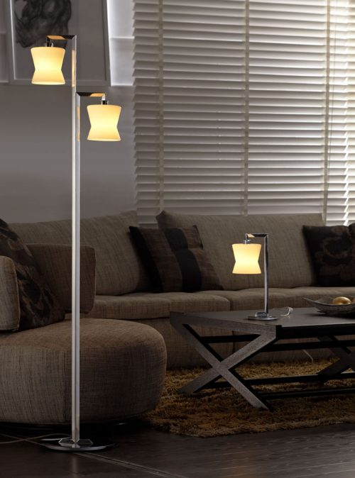 Corolla Floor Lamp with Opal Glass Shades