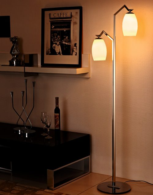 Victoria Floor Lamp with Glass Shade