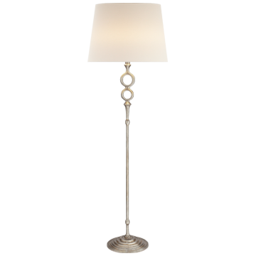 Bristol Floor Lamp in Burnished Silver Leaf with Linen Shade