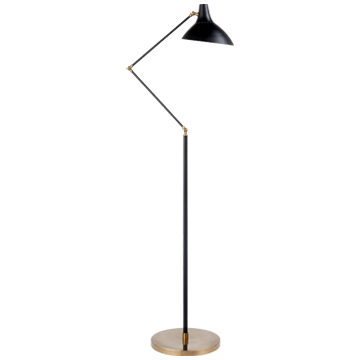Charlton Floor Lamp in Black and Hand-Rubbed Antique Brass
