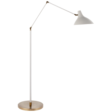 Charlton Floor Lamp in White and Hand-Rubbed Antique Brass