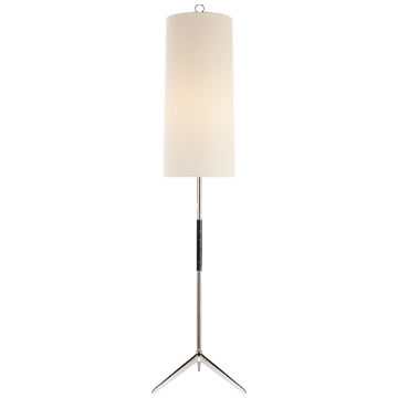 Frankfort Floor Lamp in Polished Nickel with Ebony Accents and Linen Shade