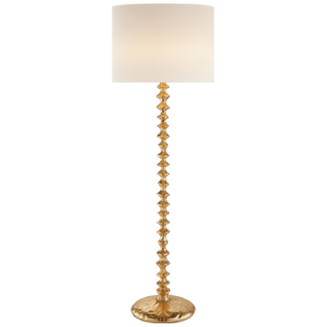 Lilian Floor Lamp in Gild with Linen Shade