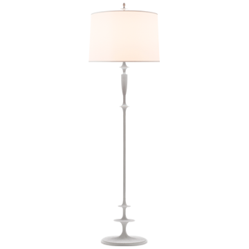 Lotus Floor Lamp in Plaster White with Silk Shade